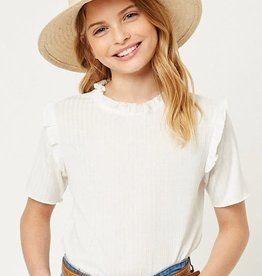 Hayden Girls Tween Ruffled Collar Knit Top