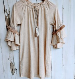 Hayden Girls Linen Bell Sleeve Dress w/Fringe