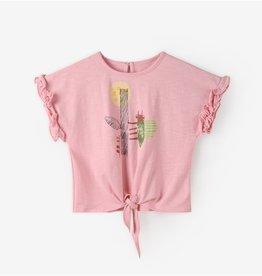 Aimama Girl's Ruffled Short Sleeve Tie-Front Print Top