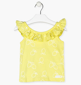 Losan Lemon Ruffled Neckline Sleeveless Top
