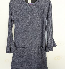 Area Code 407 Junior Wide Rib Knit Dress w/Bell Sleeves