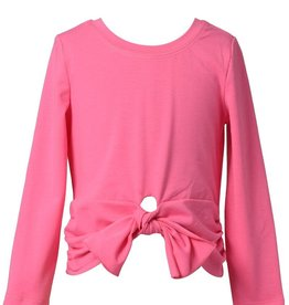 Baby Sara Girls Long Sleeve Solid Tie-Front Top