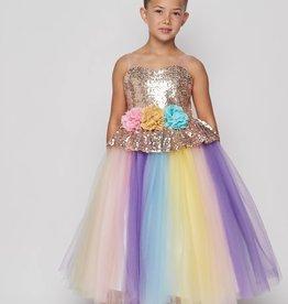 Cinderella Couture Sequined Unicorn Dress w/Headband