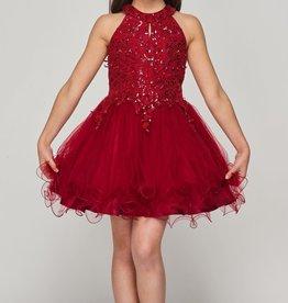 Cinderella Couture Halter Neck Rhinestone Sequin Party Dress