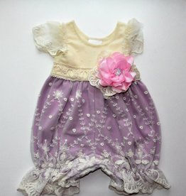 Haute Baby Lavender Bubble Romper w/Lace