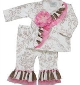 Haute Baby CREAM BROWN AND PINK CRISS CROSS PANT S