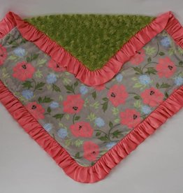 Cuddle couture Rose garden with apple green back blanket