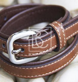 Double Leather Belt- Brown-Light Brown