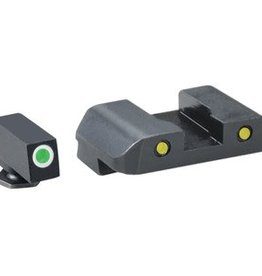 Ameriglo AMG Pro Operator Night Sight Set Front Green With White Outline/Rear Yellow With Black Outline Glock 17-39