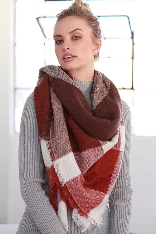 Earth Tone Color Block And Plaid Mix Pattern Blanket Scarf Scarf