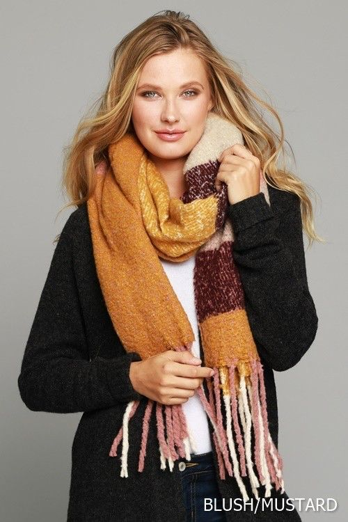 Lusciously Soft Thick Brushed Plaid Oblong Scarf Scarf