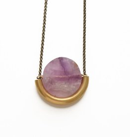 SUN AND MOON NECKLACE IN AMETHYST