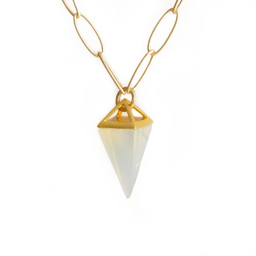STONE PYRAMID DROP NECKLACE IN OPALITE