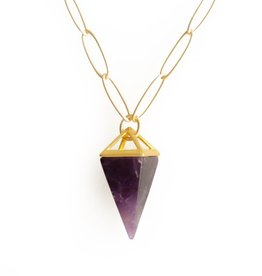 STONE PYRAMID DROP NECKLACE IN AMETHYST