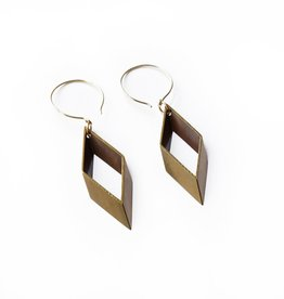 OPEN BRASS DIAMOND EARRINGS