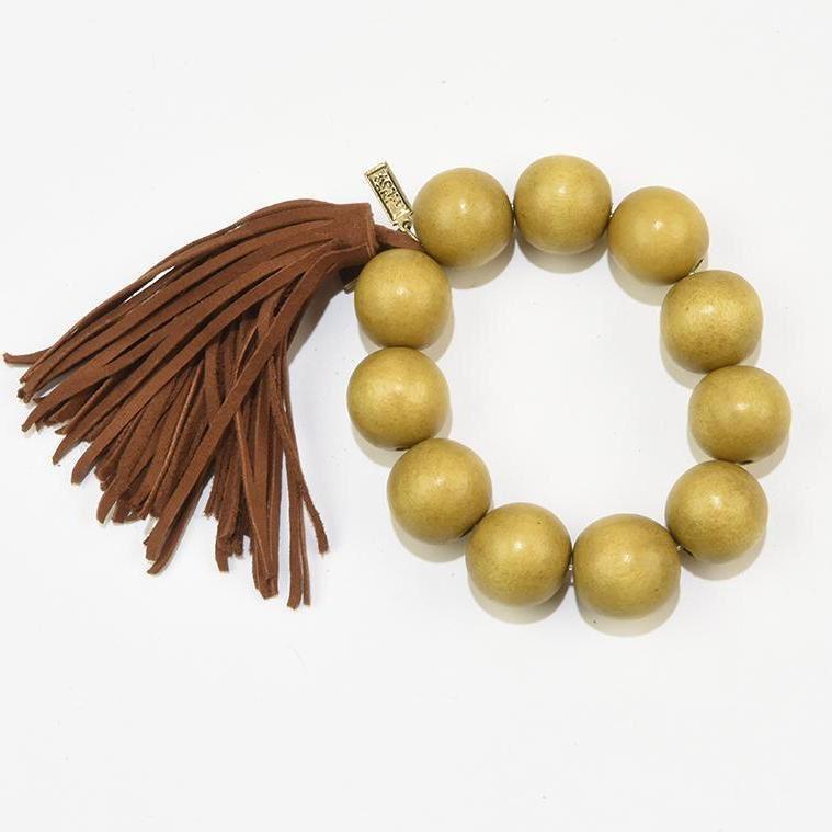 Wood Bead Bracelet with Tassel