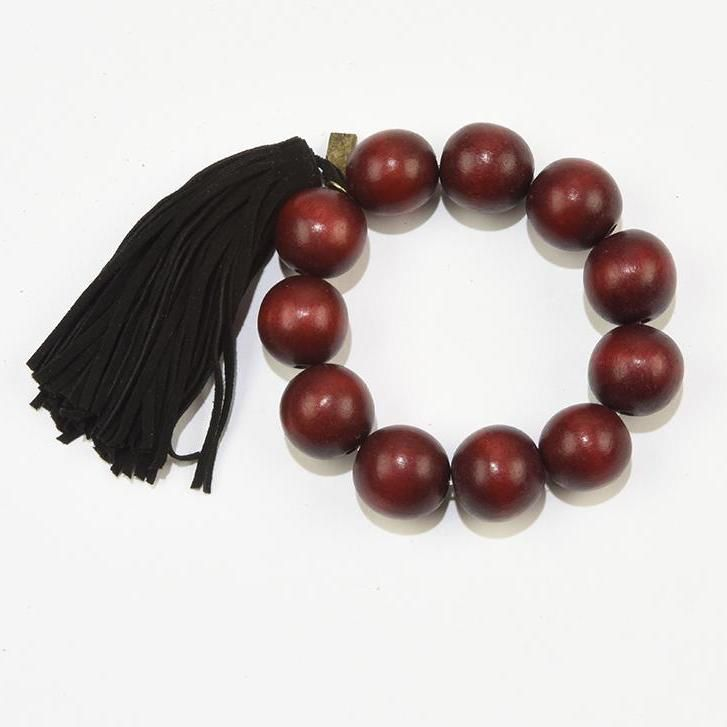 Wood Bead Bracelet with Tassel