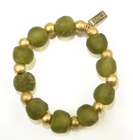 Recycled Glass and Brass Bracelet