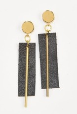Leather Rectangle Earrings
