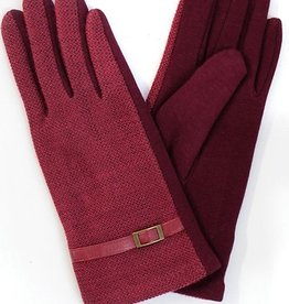 LessTag Two Toned Buckled Glove CG6401 Burgundy