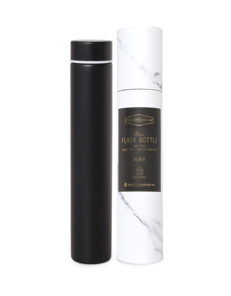 Slim Flask Bottle - Black/White Marble