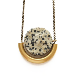 SUN AND MOON NECKLACE IN DALMATIAN JASPER
