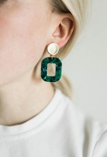 Acrylic Square Earrings in Marbled Green