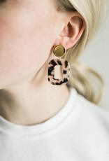 Acrylic Square Earrings in Blonde Tortoise
