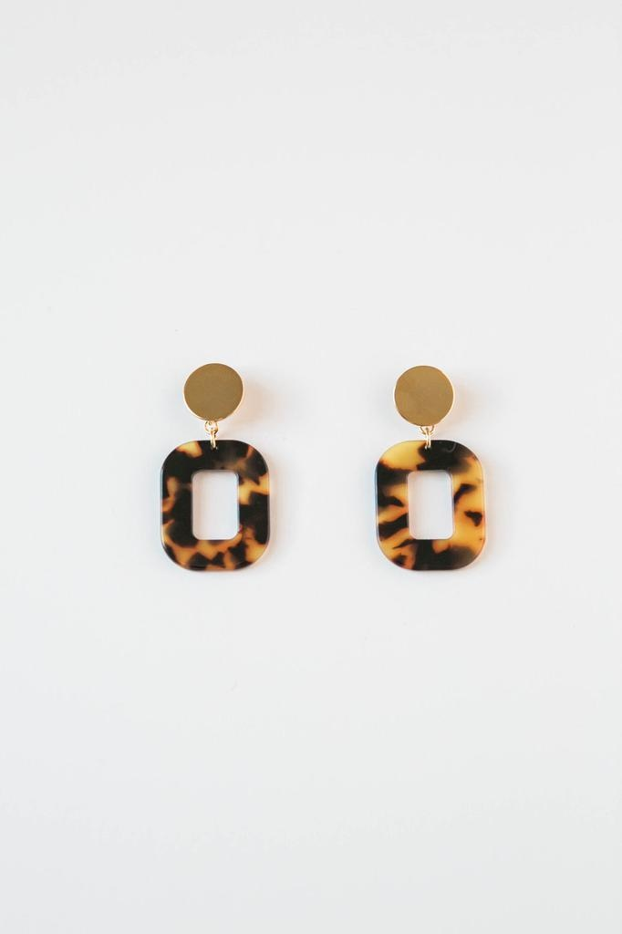 Acrylic Square Earrings in Amber Tortoise