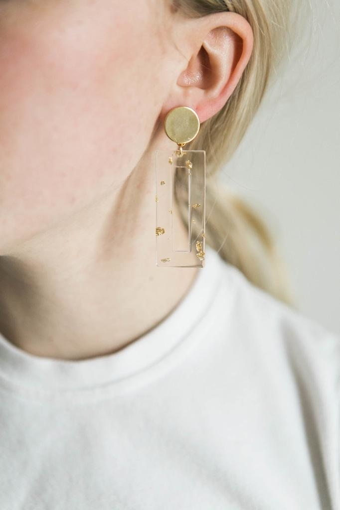 Acrylic Bar Earrings in Gold Foil