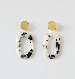 Acrylic Oval Earring in Black & White
