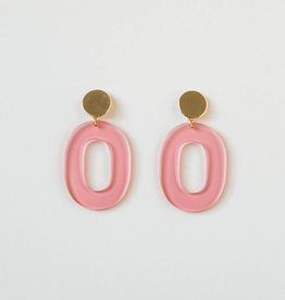 Acrylic Oval Earring in Pink Transparent