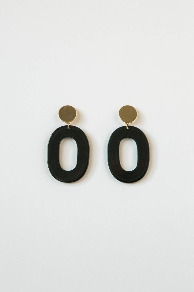Acrylic Oval Earring in Black
