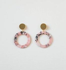 Acrylic Circle Earrings in Pink Marble
