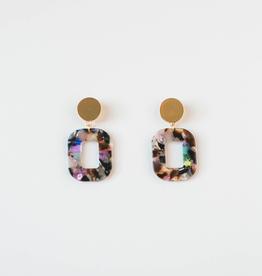 Acrylic Square Earrings in Mardi Gras Confetti