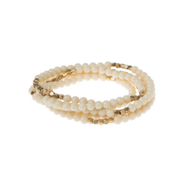 Convertible bracelet in White Fossil Jasper