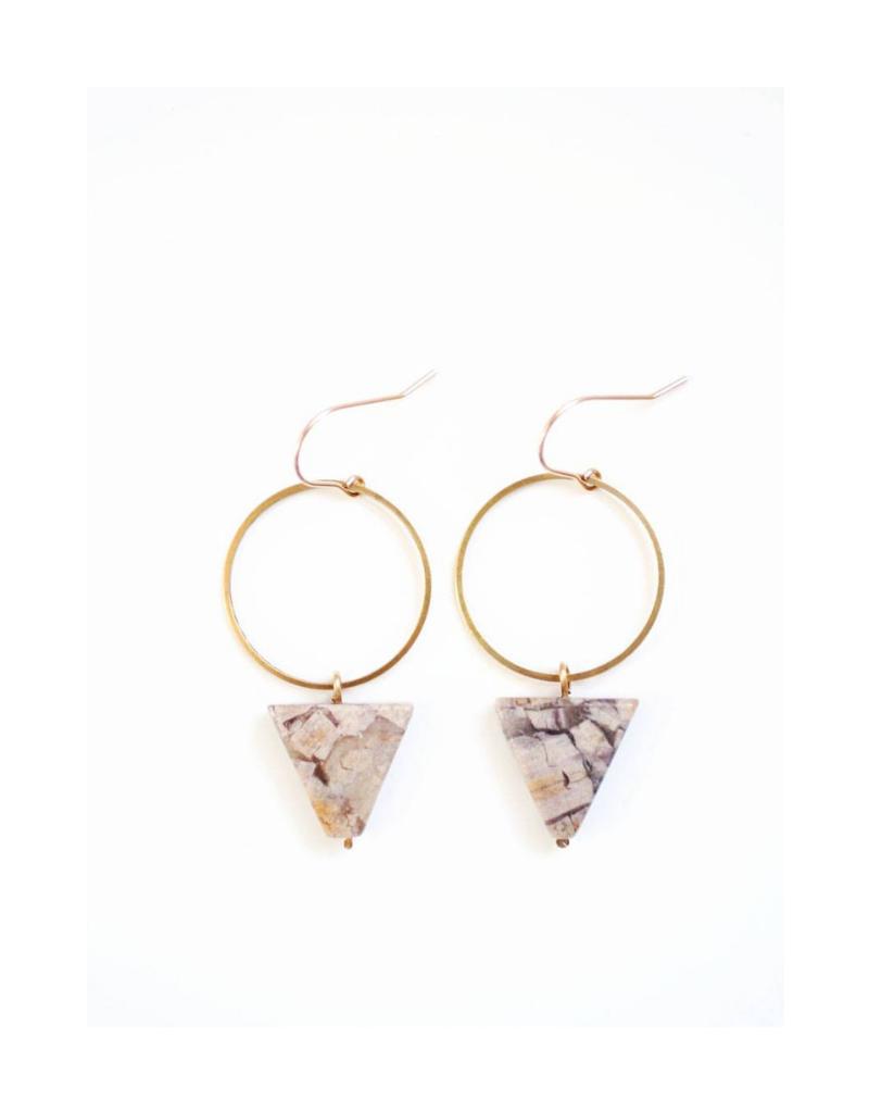 Jasper Triangle Hoop Earrings