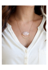 Rose Quartz Hammered Circle Necklace