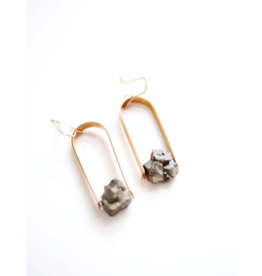 Pyrite Nugget Arch Earrings