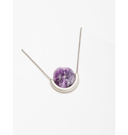 Sun and Moon Necklace in Amethyst-Silver
