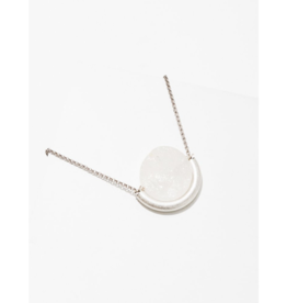 Sun and Moon Necklace in Clear Quartz-Silver