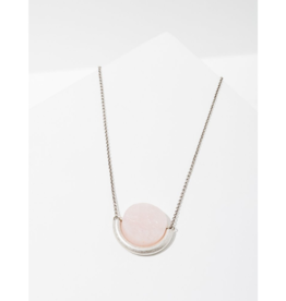 Sun and Moon Necklace in Rose Quartz-Silver