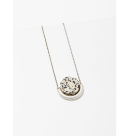 Sun and Moon Necklace in Dalmatian Jasper-Silver