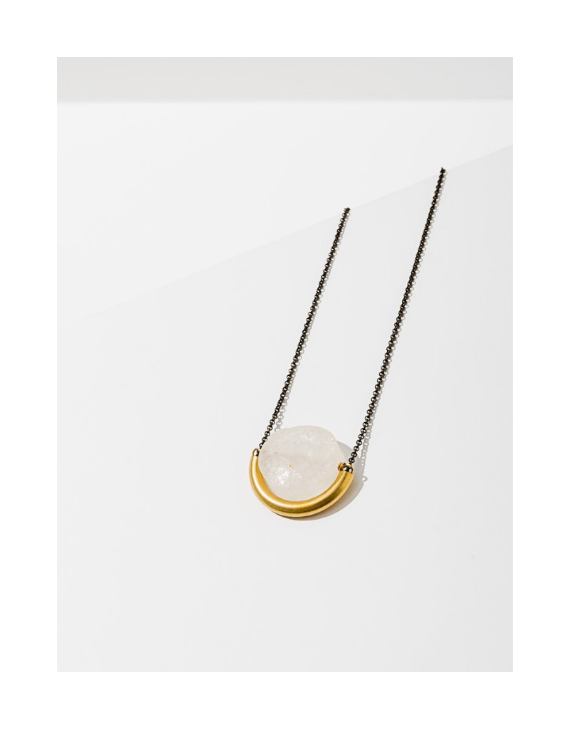 Sun and Moon Necklace in Clear Quartz-Brass