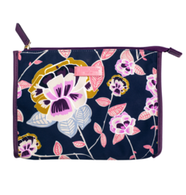 Navy Floral Jewelry Pouch