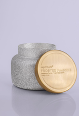 Frosted Fireside Silver Glitter Candle