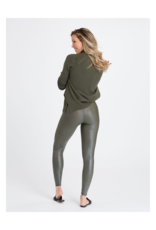 Faux Leather Legging in Rich Olive Leggings