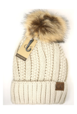Knit Hat with Fur Pom in Beige