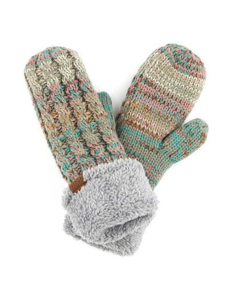 Knit Mittens with Fur Lining