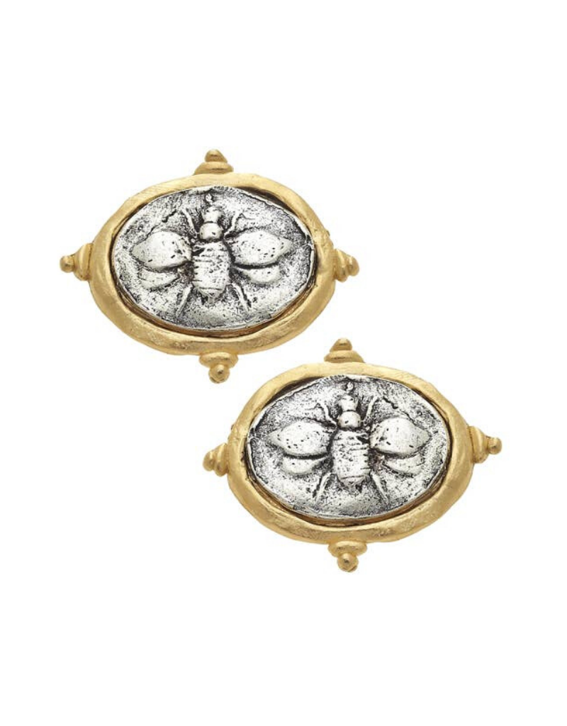 Italian Intaglio Bee Pierced Earrings